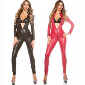 Varnished Leather Long Jumpsuit